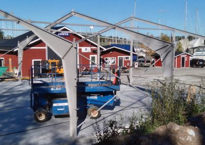 Lagerhall Svinninge Marina. Tommy Fernlund, Västanfors Stålbyggnader.