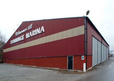 Lagerhall Svinninge Marina. Västanfors Stålbyggnader.
